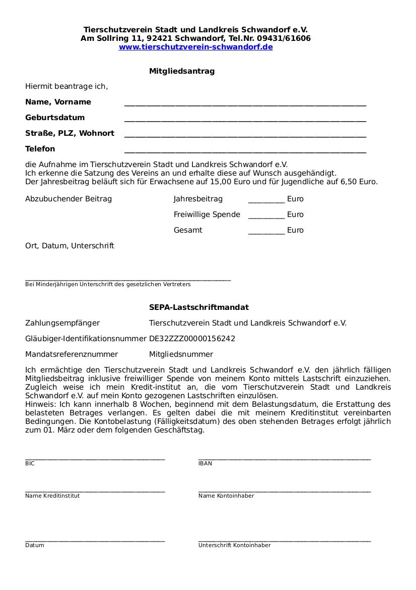 Mitgliedsantrag